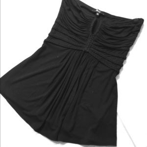 Sky Strapless Tunic with black braid. Size Medium